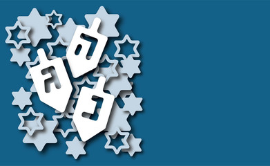 Hanukkah background with dreidels, Hebrew letters and David stars. Modern paper cut design for Jewish Festival of light. Vector illustration with place for your text