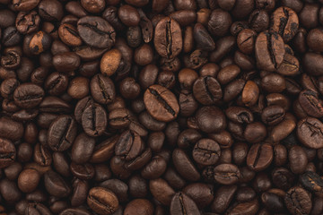 Roasted coffee beans. Background, close-up view.