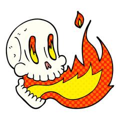 cartoon doodle flaming skull