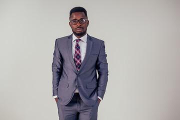 portrait african businessman american man in stylish suit wear glasses studio shot on white background