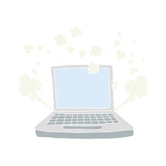 flat color illustration of a cartoon laptop computer fault