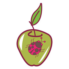 Ladybug on green apple