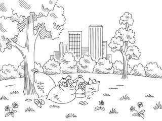 Garbage in nature park graphic black white landscape sketch illustration vector