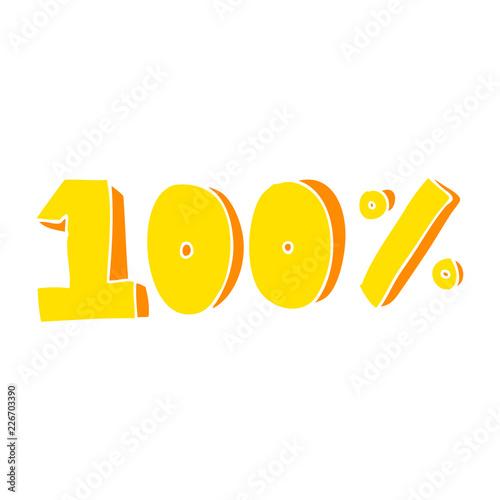 Flat Color Illustration Of A Cartoon 100 Per Cent Symbol Stock