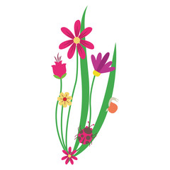 Flowers cartoon isolated