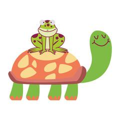 Frog on turtle cartoons