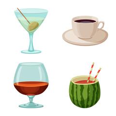 Vector illustration of drink and bar sign. Set of drink and party stock vector illustration.