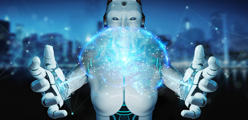White man humanoid creating artificial intelligence 3D rendering