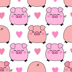 Cute pigs seamless pattern background