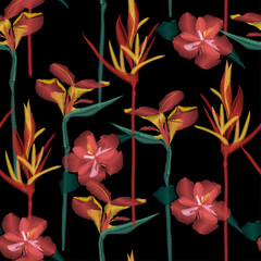 Seamless dark tropical  seamless pattern of colorful hibiscus flower on a black  background.