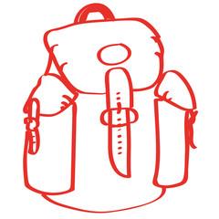 Handgezeichneter Wanderrucksack in rot