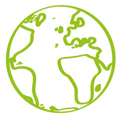 Handgezeichnete Weltkugel in hellgrün