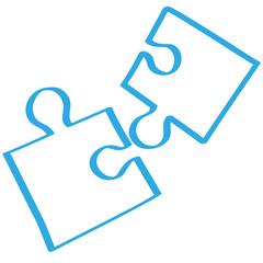 Handgezeichnetes Puzzle in blau