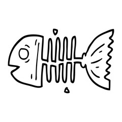 line drawing cartoon fish bones