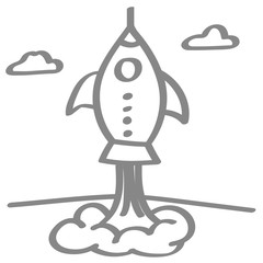 Handgezeichnete Rakete in grau