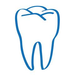 Handgezeichneter Zahn in dunkelblau