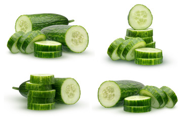 Collection cucumber with smooth skin, isolated on white background.