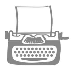 Handgezeichnete Schreibmaschine in grau
