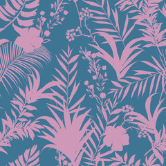 Beatiful  palm trees and tropical forest on the sweet pastel blue and pink  background. Vector seamless pattern
