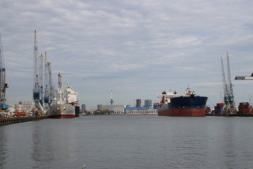 Ships in the waalhaven harbor in Rotterdam the Netherlands.
