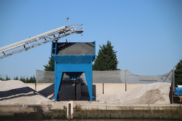 Sand silo along the riverside Hollandsche IJssel at Gouda