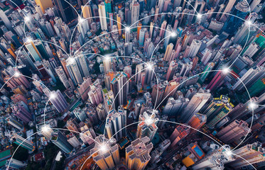Digital network connection lines of Hong Kong Downtown. Financial district and business centers in smart city in technology concept. Top view of skyscraper and high-rise buildings. Aerial view Fototapete