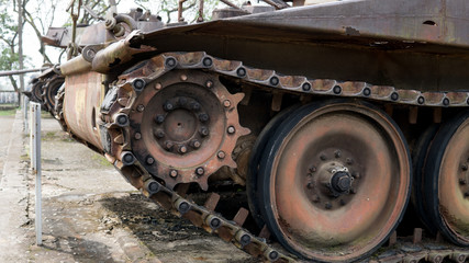 old military equipment destroyed in battles and wars. Tanks as a murder weapon.