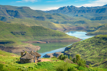 Lesotho traditional hut house homes in Lesotho village in Africa. Beautiful scenic landscape of...