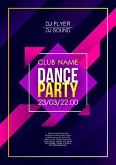 Vertical dance party background with color graphic elements and text.