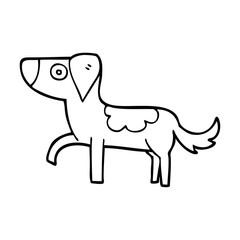 line drawing cartoon standing dog