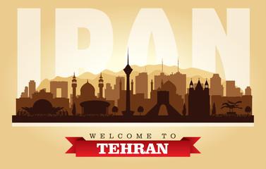 Tehran Iran city skyline vector silhouette