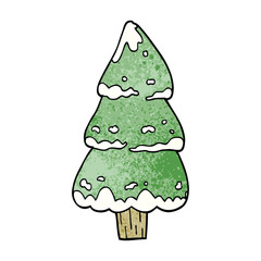 cartoon doodle pine trees