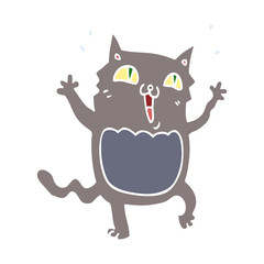 flat color style cartoon crazy excited cat