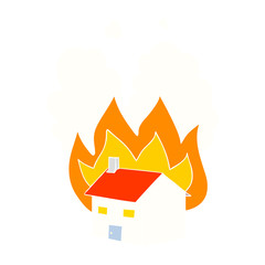 flat color style cartoon burning house
