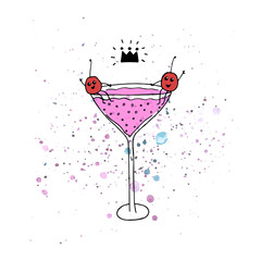 Vector illustration. Yummy print. Sparkling beverage . Cartoon drawing. Glass with soda and cherry. Funny print design elements.