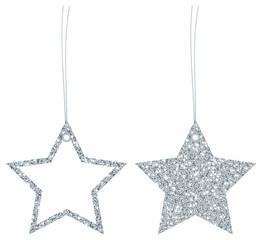 2 Hangtags Stars Glitter Silver