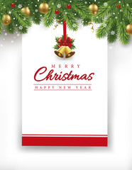 merry christmas and New year gift card with place for your text