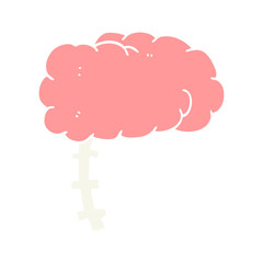 flat color style cartoon brain