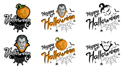 Happy Halloween lettering, hand drawn holiday lettering with web and spider, trick or treat, happy halloween text, halloween banner, vector artwork