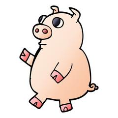 cartoon doodle funny pig