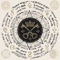 Illustration of the keys and crown in an octagonal star with handwritten magical inscriptions and symbols. Vector banner with old manuscript in retro style