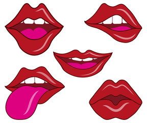 lips, vector smile, kiss concept, sexy lips, open mouth, tongue and teeth sign, lips logo, vector artwork