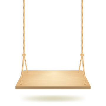 Realistic Detailed 3d Hanging Wooden Swing. Vector