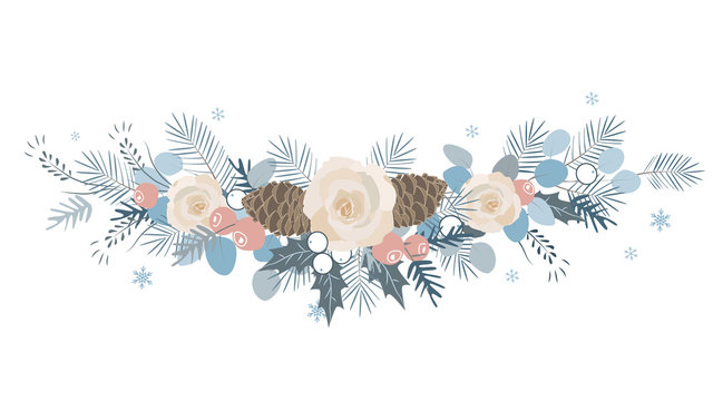 Vector Christmas border with fir branches, beriies, roses, ilex and cones.