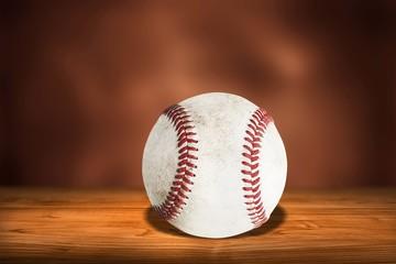 Dirty baseball on desk
