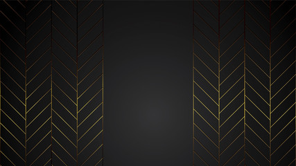luxury black background banner vector illustration with gold strip art deco line for company