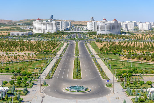 Ashgabat Turkmenistan city scape, skyline of beautiful architecture and parks in Ashgabad the capital city of Turkmenistan in Central Asia