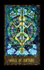 Wheel of fortune. Major Arcana tarot card. The Magic Gate deck. Fantasy graphic illustration with occult magic symbols, gothic and esoteric concept