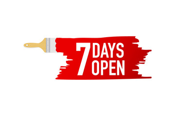Banner with brushes, paints - 7 days open. Vector illustration.
