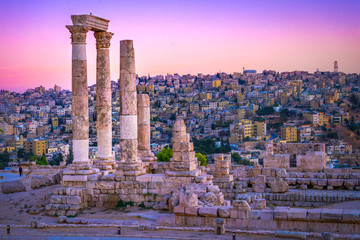Printed roller blinds Old building Amman, Jordan its Roman ruins in the middle of the ancient citadel park in the center of the city. Sunset on Skyline of Amman and old town of the city with nice view over historic capital of Jordan.